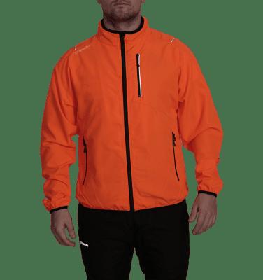 Dobsom Zink Jacket Flour Orange on miesten urheilutakki, joka soveltuu monenlaiseen käyttöön. Takki on miellyttävä juoksussa, pyöräilyssä, golfaamisessa ja muunkinlaisessa ulkoilussa. Takki on edestä 100 % polyesteria, takaa 85 % polyesteria ja 15 % spandexia.